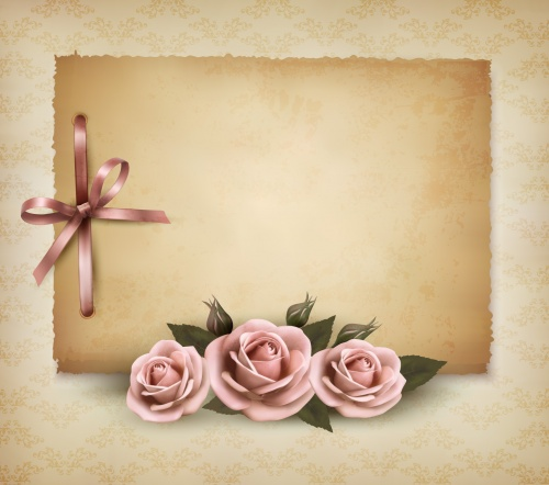 Romantic Cards with Roses Vector 2