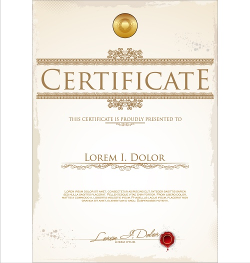 Template of certificate or diploma
