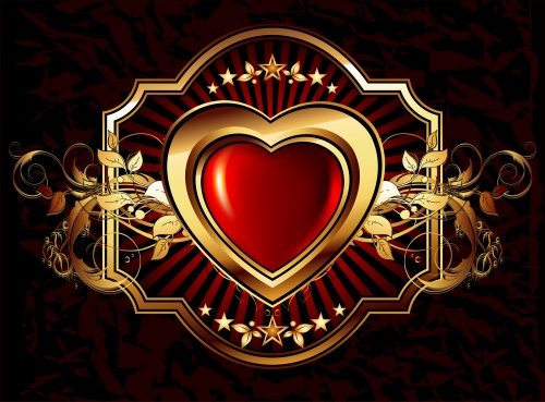 Bright hearts with a gold ornament against a dark background in a vector