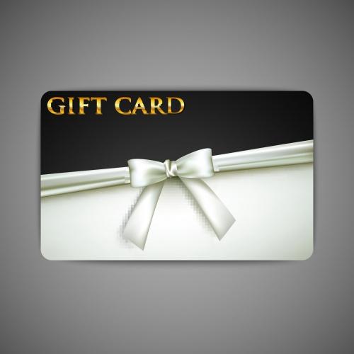 Подарочные карточки с белой лентой | Gift card with white bow and ribbon vector