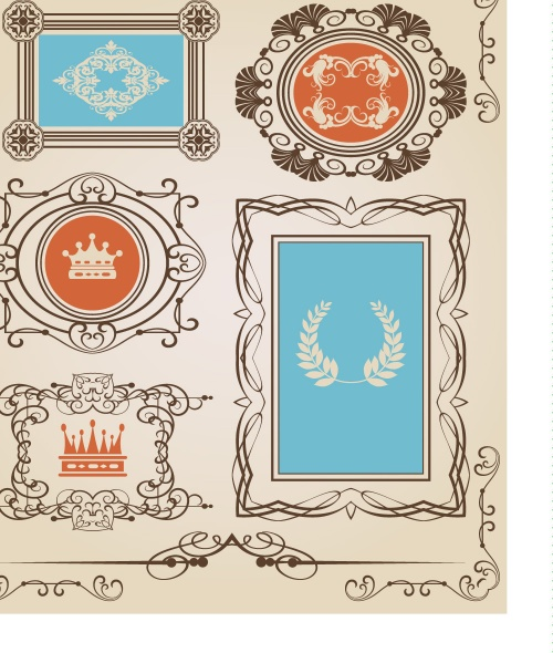 Vintage frame and design elements