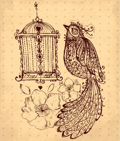 Векторная иллюстрация с птицей и цветами| Vector hand drawn illustration with bird and flowers