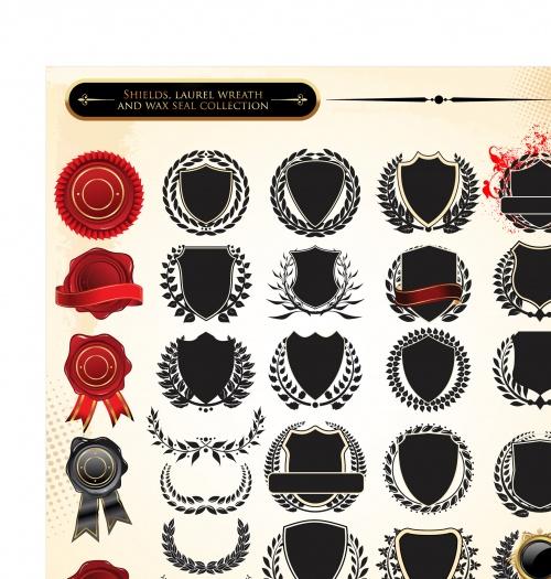 Элементы декора: лавровые венки и щиты в векторе
