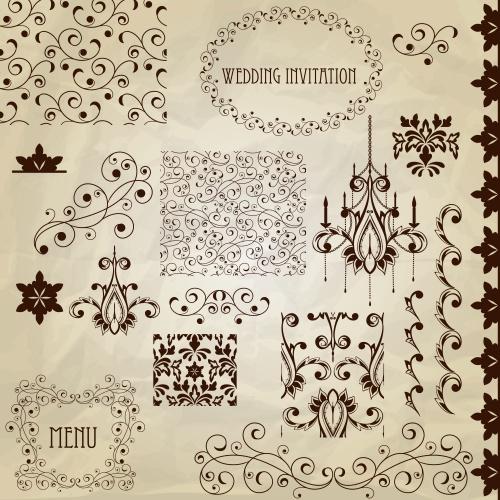 Векторные орнаменты для свадебных пригласительных и меню / Vintage menu and wedding invitations in vector