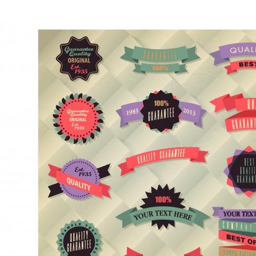 Ретро этикетки и ленты часть 2 | Retro label and ribbon collection set 2