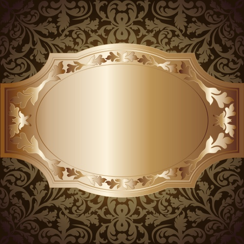 Vector stock - Золотые винтажные рамки и орнаменты/ Gold vintage frame