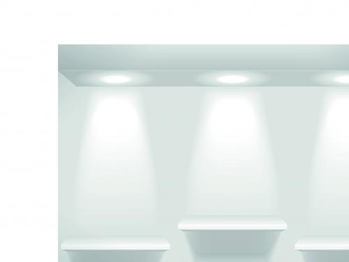 Витрина и полка освещённая прожектором | Showcase and shelves light vector