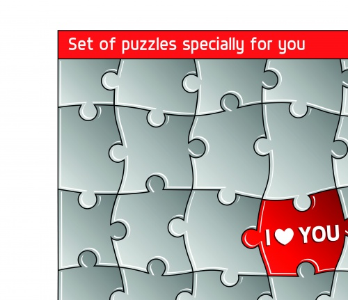 Пазлы часть 2 | Puzzles templates vector set 2