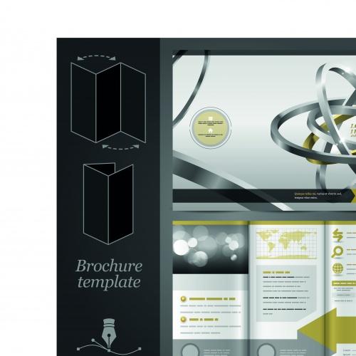 Бизнес брошюра из трёх страниц часть 25 | Tri fold business brochure vector set 25