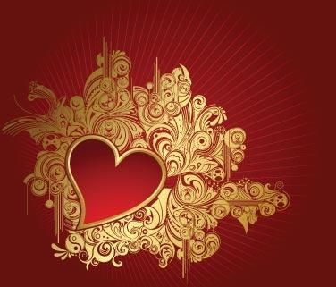 Золотые винтажные сердца и корона в векторе