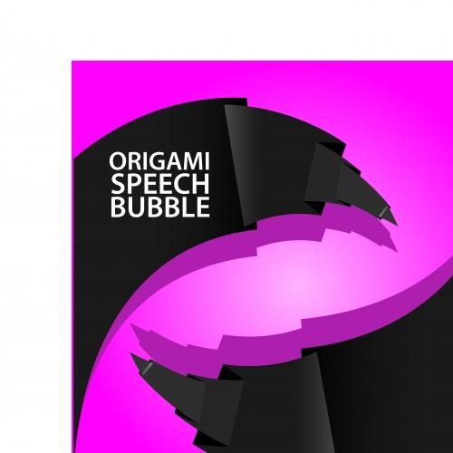 Абстрактный шаблон розовый с чёрным | Abstract black and pink origami speech bubble vector
