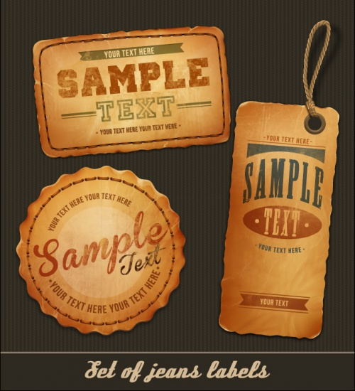Jeans Labels & Tags Vector