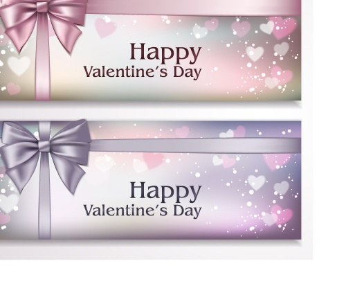 Banners with ribbons and hearts