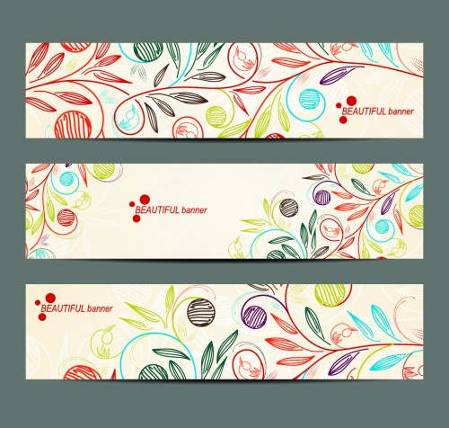 Simple Floral Banners Vector