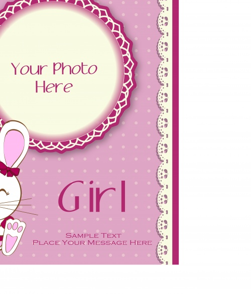 Детская открытка с мультяшным зайцем | Baby shower cartoon hare vector