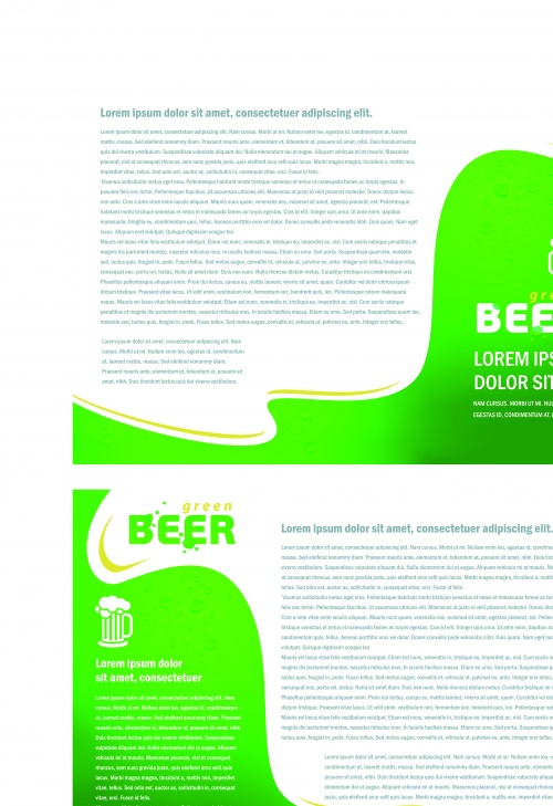 Брошюра из трёх страниц пиво и сок | Tri fold brochure folder card beer and juice vector