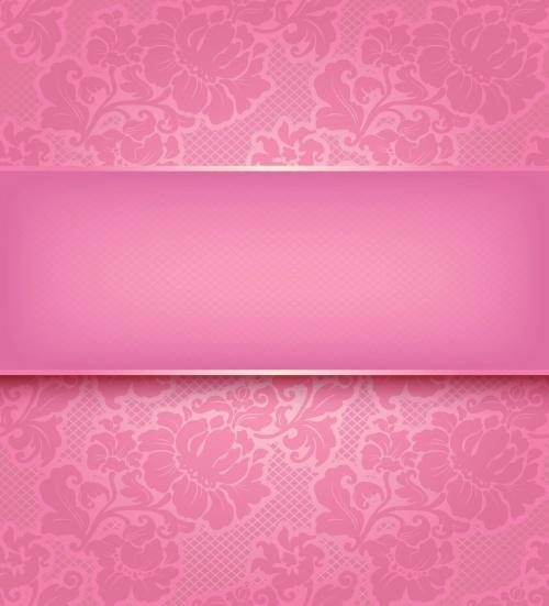 Pink & Black Floral Patterns Vector