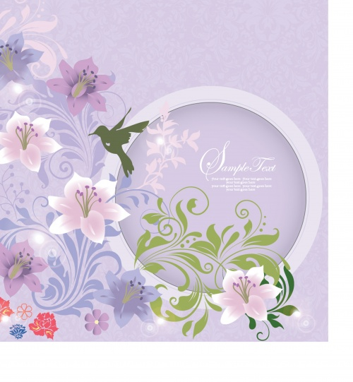 Wedding Invitation with flowers and birds