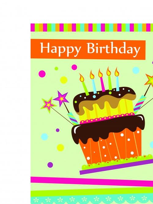 Открытка с днём рождения | Happy birthday cake card vector