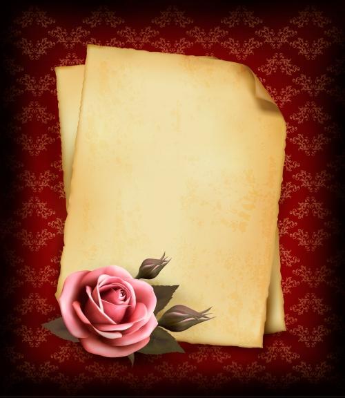 Винтажные свитки с розами в векторе