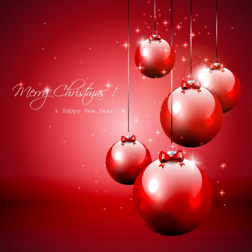 Красные новогодние фоны  Stock: Elegant red Christmas background with baubles and gifts