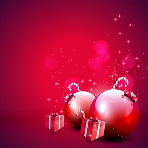 Красные новогодние фоны  Stock: Elegant red Christmas background with baubles and gifts