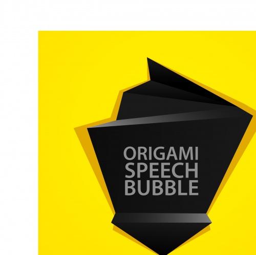 Абстрактный оригами шаблон чёрный с жёлтым | Abstract black and yellow origami speech bubble vector