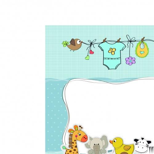 Открытка для малыша с животными | Baby shower cartoon animals vector