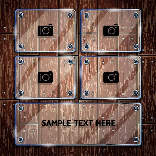Деревянная текстура и стеклянные рамки для фото | Wooden texture background and collage glass frame vector