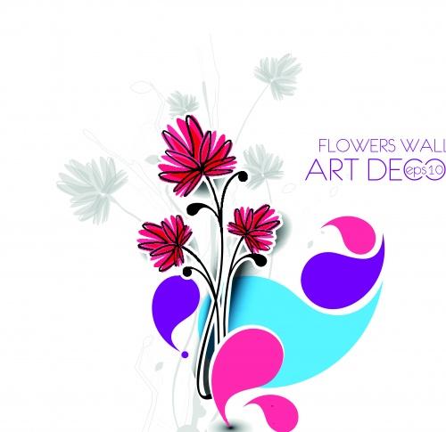 Цветы декорации часть 4 | Flowers wall art decor vector set 4