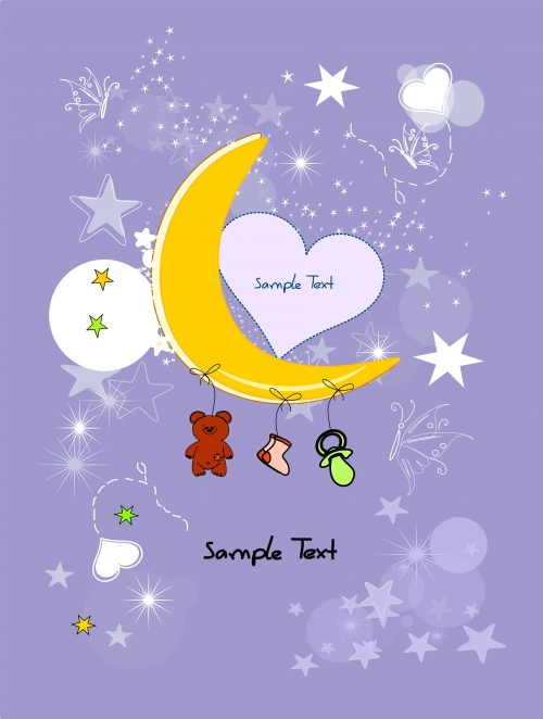 Stock: Yellow half moon and stars, New Year backgrounds