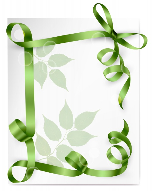 Holiday background with red green and blue gift bow with red ribbons