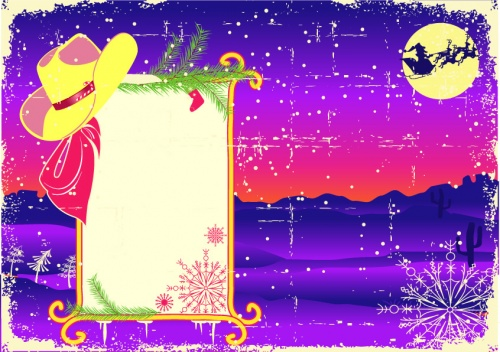 Деревянные фоны с ковбойскими сапогами и шапкой Санта- Клауса - векторный клипарт