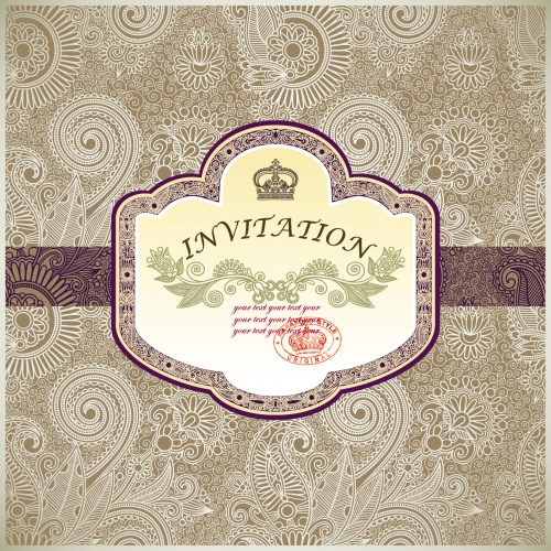 Vintage Floral Invitations Vector