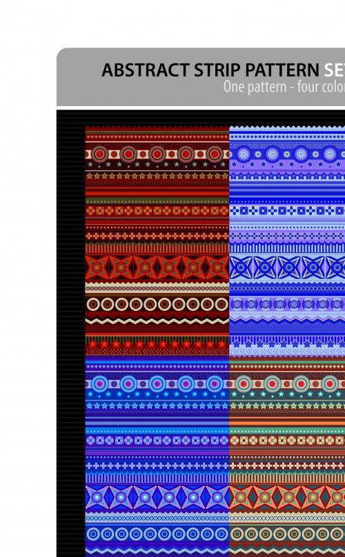 Абстрактные этнические бесшовные фоны | Abstract strip pattern ethnic vector backgrounds