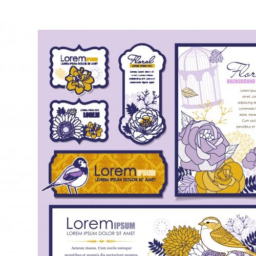 Скрап набор и фоны с цветами | Scrap kit and backgrounds flowers vector