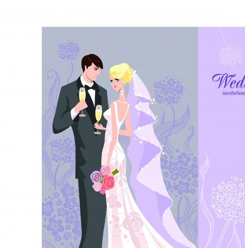 Свадебные пригласительные с невестой | Wedding Invitation With Bride vector