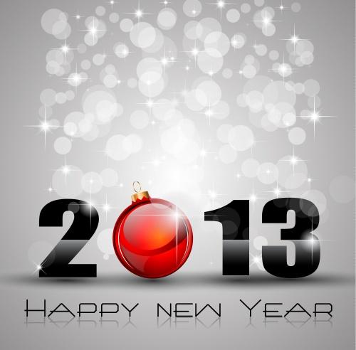Векторные новогодние игрушки 2013 в форме сердца