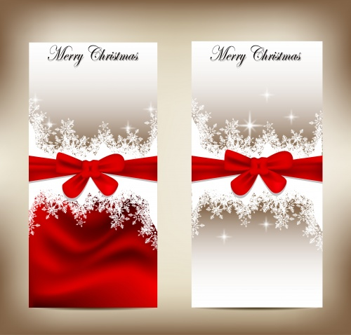 Красные банты на новогодних баннерах - вектор  Stock: Beautiful Christmas cards and banners with bows and snowflakes