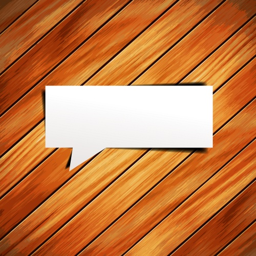 Деревянные фоны - вектор  Stock: Vector wooden background with speech bubbles paper stick