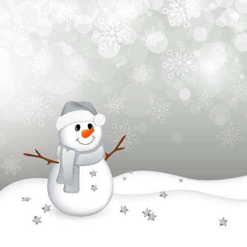 Снеговики и снежинки  Stock: Vector Christmas Background with a Small Snowman