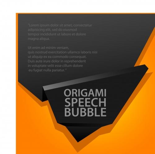 Чёрный и оранжевый шаблон с местом для текста | Black and orange origami speech bubble vector background
