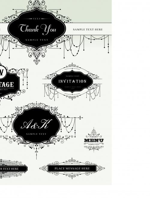 Свадебный пригласительный часть 7 | Wedding Invitation template vector set 7