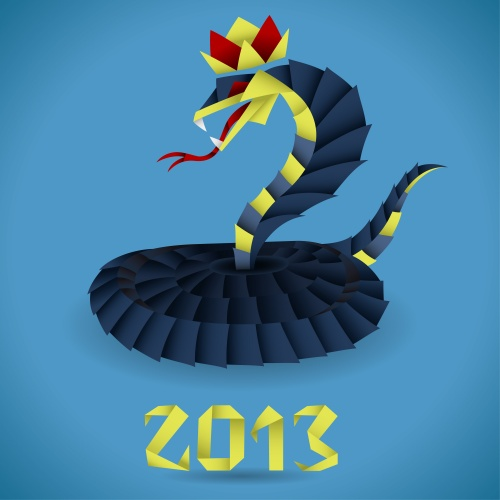 Paper Origami Snake with 2013 Year