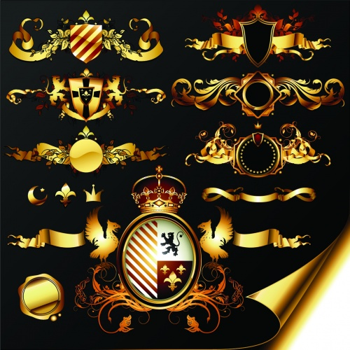 Golden Heraldic Elements Vector
