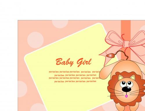 Детская открытка с местом для текста и животными | Baby card with animals and blank vector