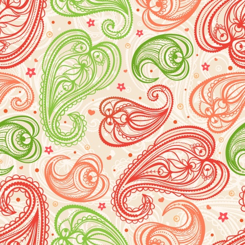 Background with swirls, leaves and paisley