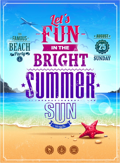 Bright Summer Posters Vector
