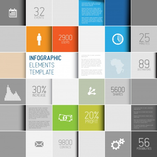 Abstract Cubes & Infographic Backgrounds Vector