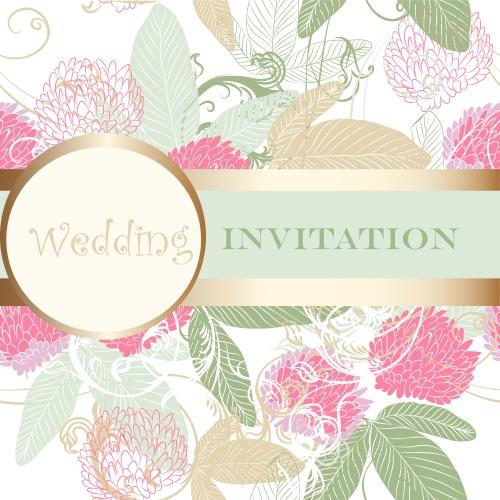 Нежные свадебные фоны с цветами и узорами / Gentle wedding background with colors and patterns - vector
